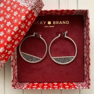 Lucky Brand Pave Hoop Earrings Silver Marcasite
